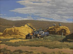 Image of Threshing Wheat in Porterville