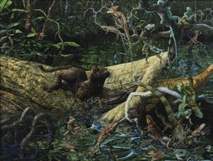 Image of Lizard Relay: Jaguarundi with Green Iguanas and Banded Basilisks