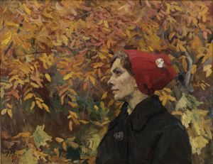 Image of Golden Autumn: Lady with Red Hat