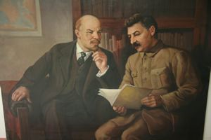 Image of Dictators of the Proletariat: Lenin and Stalin Conversing