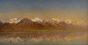 Image of Great Salt Lake Utah and the Wasatch Mountains