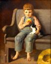 Image of Boy and Cat: My Little Son, Heber James (Boy with a Bun)