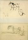 Image of Two Animal Sketches with Self Portrait